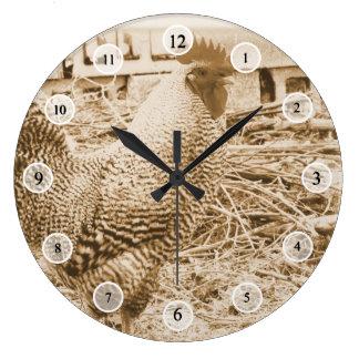 Fotografía del gallo del estilo del vintage reloj redondo grande