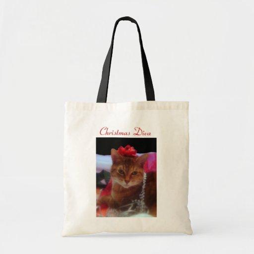 Fotografía del gato de la diva del navidad bolsa tela barata
