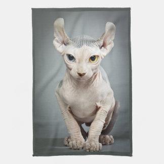 Fotografía del gato de la esfinge del duende toallas de cocina