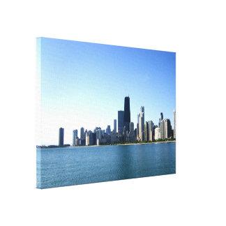 Fotografía del horizonte de Chicago Impresiones En Lienzo Estiradas