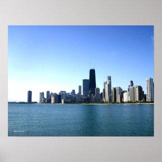 Fotografía del horizonte de Chicago Póster