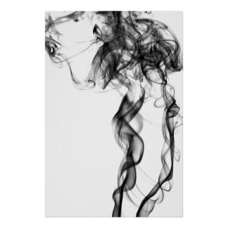 Fotografía del humo - negro póster