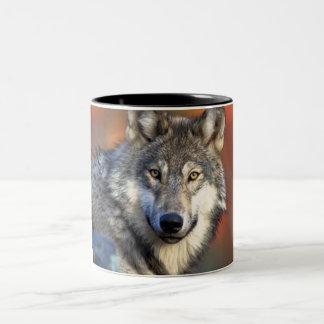 Fotografía del lobo taza de dos tonos