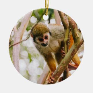 Fotografía del mono de ardilla adorno navideño redondo de cerámica