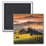 Fotografía del paisaje de Toscana, Italia Imán Cuadrado