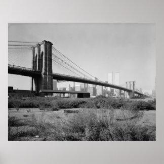 Fotografía del puente de Brooklyn - 2 Póster