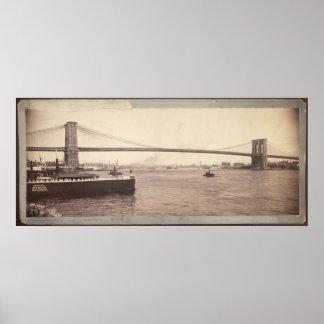 Fotografía del puente de Brooklyn del vintage Póster