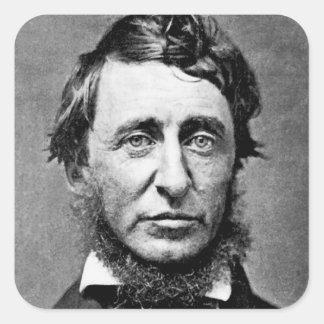 Fotografía del retrato de Henry David Thoreau Pegatina Cuadrada