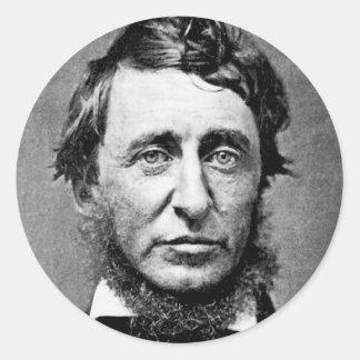 Fotografía del retrato de Henry David Thoreau Pegatina Redonda
