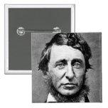 Fotografía del retrato de Henry David Thoreau Pin Cuadrada 5 Cm