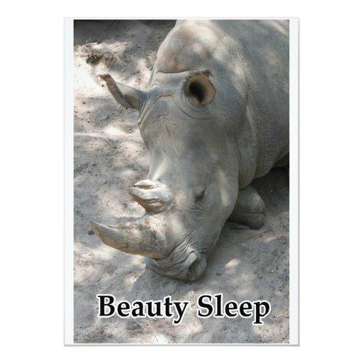 """Fotografía del rinoceronte con """"el texto del sueño invitación 12,7 x 17,8 cm"""