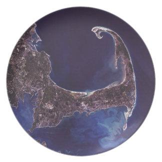 Fotografía del satélite de Cape Cod Plato De Cena