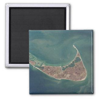 Fotografía del satélite de Nantucket Imán Cuadrado