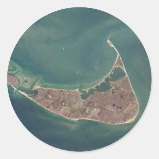 Fotografía del satélite de Nantucket Pegatina Redonda