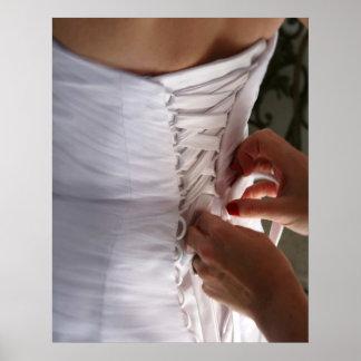 Fotografía del vestido de boda del cordón de la ma posters