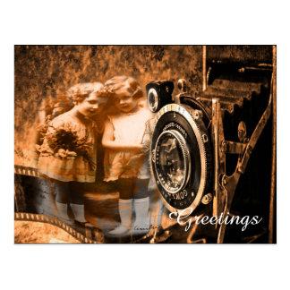 Fotografía del vintage de la presentación de dos postal