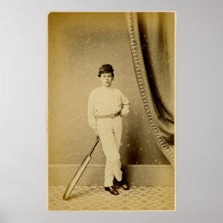 Fotografía del vintage de un jugador joven del poster