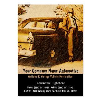Fotografía del vintage del hombre y del coche pasa plantillas de tarjetas de visita