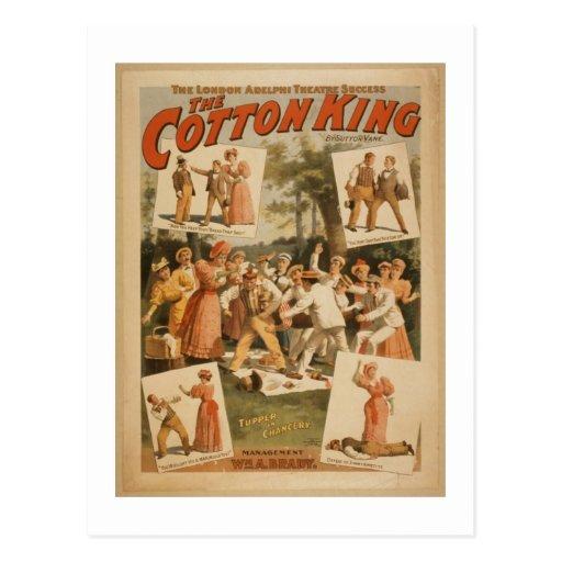 Fotografía del vintage el rey Postcard del algodón Tarjeta Postal