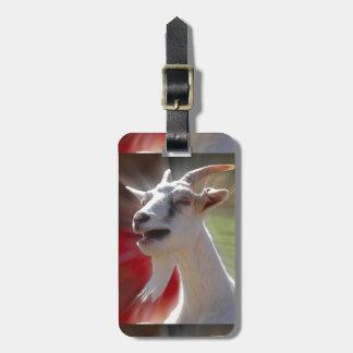 Fotografía divertida de la cabra que habla etiquetas para maletas