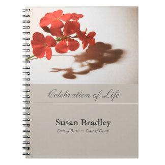 Fotografía floral del geranio - libro de visitas libretas
