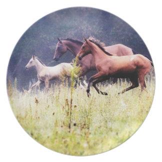 Fotografía galopante de los caballos plato de cena