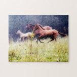 Fotografía galopante de los caballos puzzle con fotos