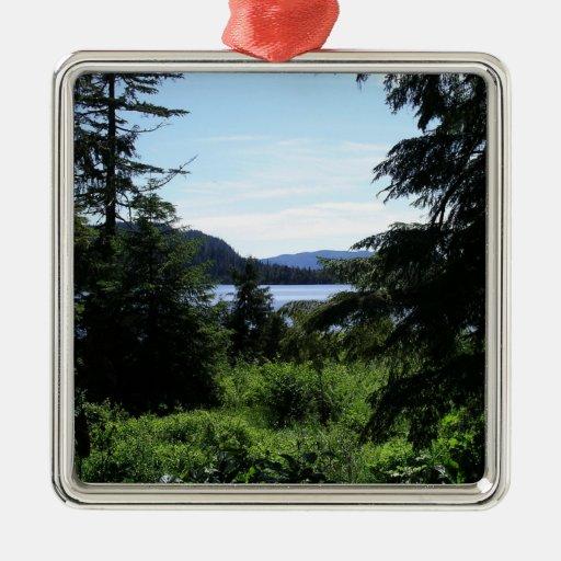 Fotografía hermosa de Alaska del paisaje de Alaska Adorno Navideño Cuadrado De Metal