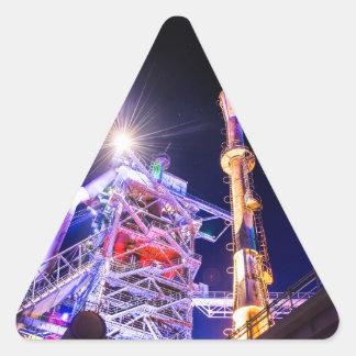 Fotografía industrial de HDR - planta siderúrgica Pegatina Triangular