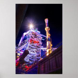 Fotografía industrial de HDR - planta siderúrgica  Póster