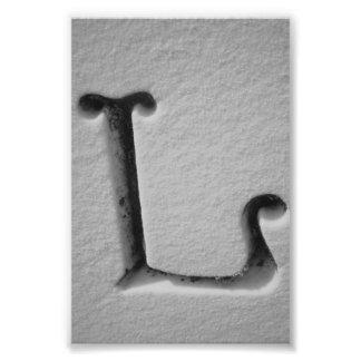 Fotografía L4 4x6 blanco y negro de la letra del Fotografías