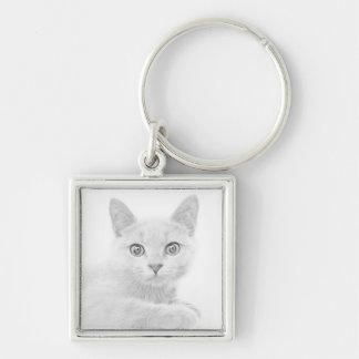 Fotografía LINDA ESTUPENDA del retrato del gatito Llavero Cuadrado Plateado
