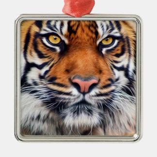 Fotografía masculina de la pintura del tigre adorno navideño cuadrado de metal