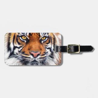 Fotografía masculina de la pintura del tigre siber etiquetas de maletas
