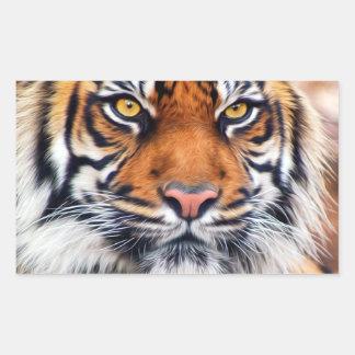 Fotografía masculina de la pintura del tigre siber rectangular pegatina