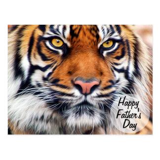 Fotografía masculina del día de padre del tigre postal