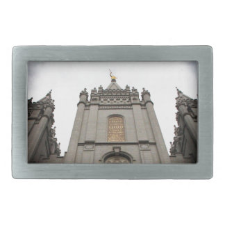 Fotografía mormona del templo de LDS Salt Lake Cit Hebilla De Cinturón Rectangular