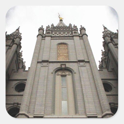 Fotografía mormona del templo de LDS Salt Lake Cit Calcomanías Cuadradass Personalizadas