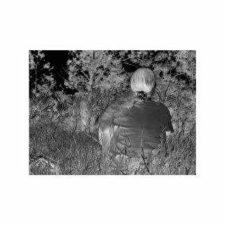 Fotografía negativa de Solarized de la figura a so Pin Fotoescultura
