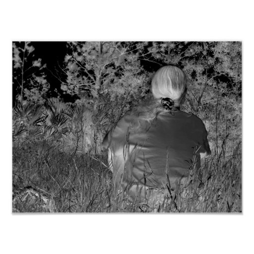 Fotografía negativa de Solarized de la figura a so Póster