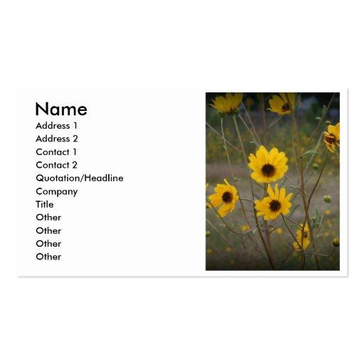 Fotografía negra amarilla del Wildflower de la Flo Plantillas De Tarjetas Personales