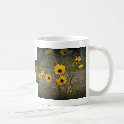 Fotografía negra amarilla del Wildflower de la Taza Básica Blanca