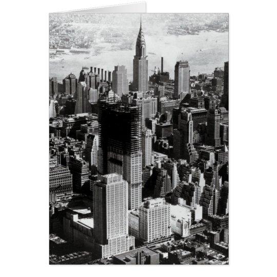 Fotografía negra y blanca de Manhattan aérea Tarjeta De Felicitación