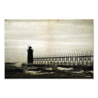 Fotografía pasada de moda del faro del lago arte con fotos