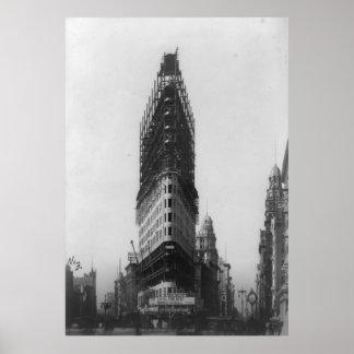 Fotografía plana vieja de la construcción de póster