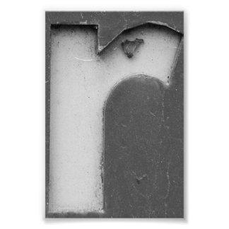 Fotografía R8 4x6 blanco y negro de la letra del Fotografía