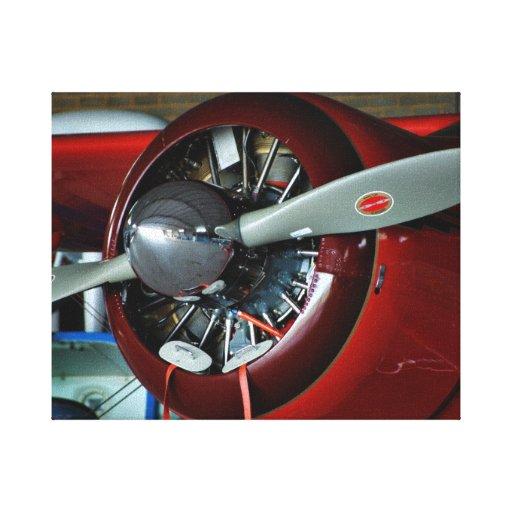Fotografía roja del propulsor de aeroplano impresion de lienzo