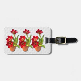 Fotografía roja madura Potted de los tulipanes Etiqueta Para Maleta