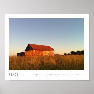 Fotografía roja rural americana del granero póster