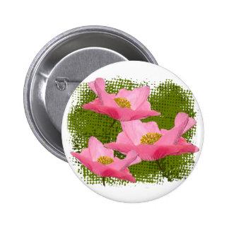Fotografía rosada bonita flotante de la amapola pin redondo de 2 pulgadas